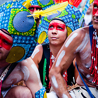 London, UK - 27 August 2012: revellers join the parade during the annual Notting Hill Carnival.