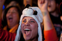 SAN FRANCISCO, CA - NOV 1:  Kamilia Elsisie reacts after watching the Giants defeat the Texas Rangers to win the World Series in 5 games at the Civic Center Plaza on November 1, 2010 in San Francisco, California.  The Giants won their first World Series in 56 years since moving to San Francisco from New York.  Photograph by David Paul Morris