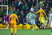 Lyndon Dykes (#9) of Livingston FC scores the second goal for Livingston during the Ladbrokes Scottish Premiership match between Livingston FC and Celtic FC at The Tony Macaroni Arena, Livingston, Scotland on 6 October 2019.