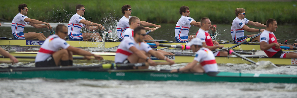 Amsterdam. NETHERLANDS.  GBR M8+.Bow. Nathaniel REILLY-O'DONNELL, Matthew TARRANT, Will SATCH, Matthew GOTREL, Pete REED, Paul BENNETT, Tom RANSLEY, Constantine LOULOUDIS and cox Phelan HILL. Gold Medalist, Men's Eight. De Bosbaan Rowing Course, venue for the 2014 FISA  World Rowing. Championships. 14:41:13  Sunday  31/08/2014.  [Mandatory Credit; Peter Spurrier/Intersport-images]