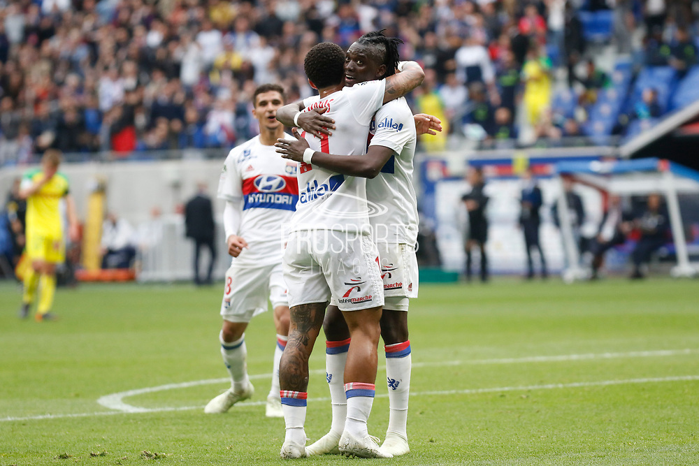 Traore Bertrand of Lyon and Depay Memphis of Lyon during the French Championship Ligue 1 football match between Olympique Lyonnais and FC Nantes on April 28, 2018 at Groupama Stadium in Décines-Charpieu near Lyon, France - Photo Romain Biard / Isports / ProSportsImages / DPPI