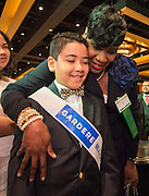 Houston ISD Trustee Wanda Adams hugs Nhedrick Jabier during the State of the Schools luncheon at the Hilton of the Americas, February 15, 2017.