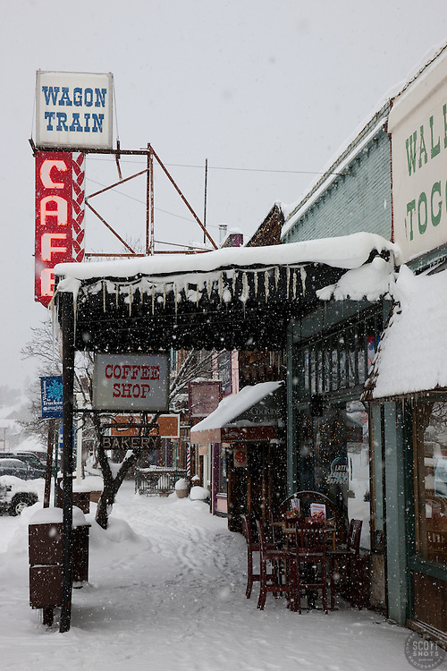 """""""Downtown Truckee 9"""" - Commercial Row in Downtown Truckee, photographed on an early snowy morning."""