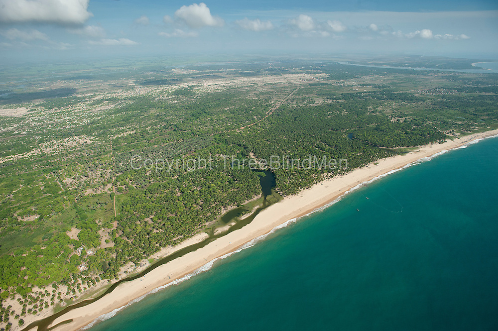 Aerial view over the East Coast beach of Kalkudah Bay