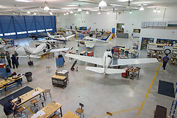 Hanger of The Stratford School For Aviation Maintenance Technicians. Training Sessions underway. Sikorsky Airport, Stratford CT.