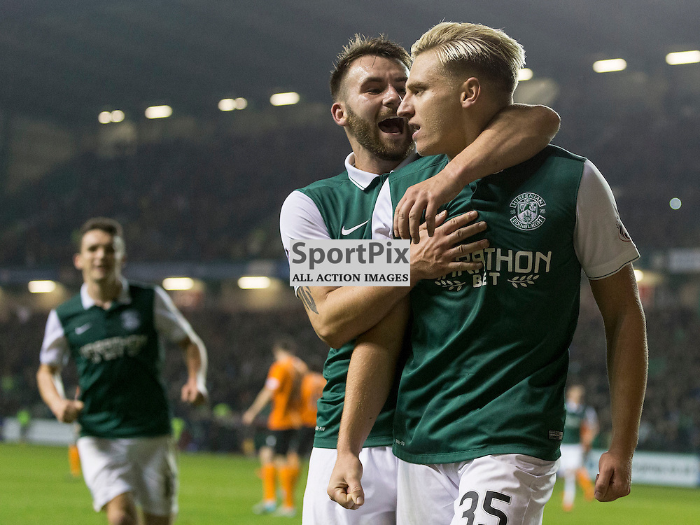 Hibernian FC v Dundee Utd FC<br /> <br /> Jason Cummings (Hibernian) celebrates second goal for Hibs during the Quarter Final of the Scottish League Cup match between Hibernian and Dundee Utd FC at Easter Road Stadium on Wednesday 4 November 2015.<br /> <br /> Picture Alan Rennie.