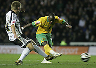 Derby - Tuesday October 28th, 2008: Leroy Lita of Norwich City gets one of his few chances away against Derby County,. but misses during the Coca Cola Championship match at Pride Park, Derby. (Pic by Michael Sedgwick/Focus Images)