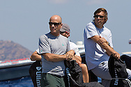 Ed Reynolds, President of Quantum Sails and Marcelino Botin, Yacht designer watching the practice race of the AUDI Medcup in Cartagena