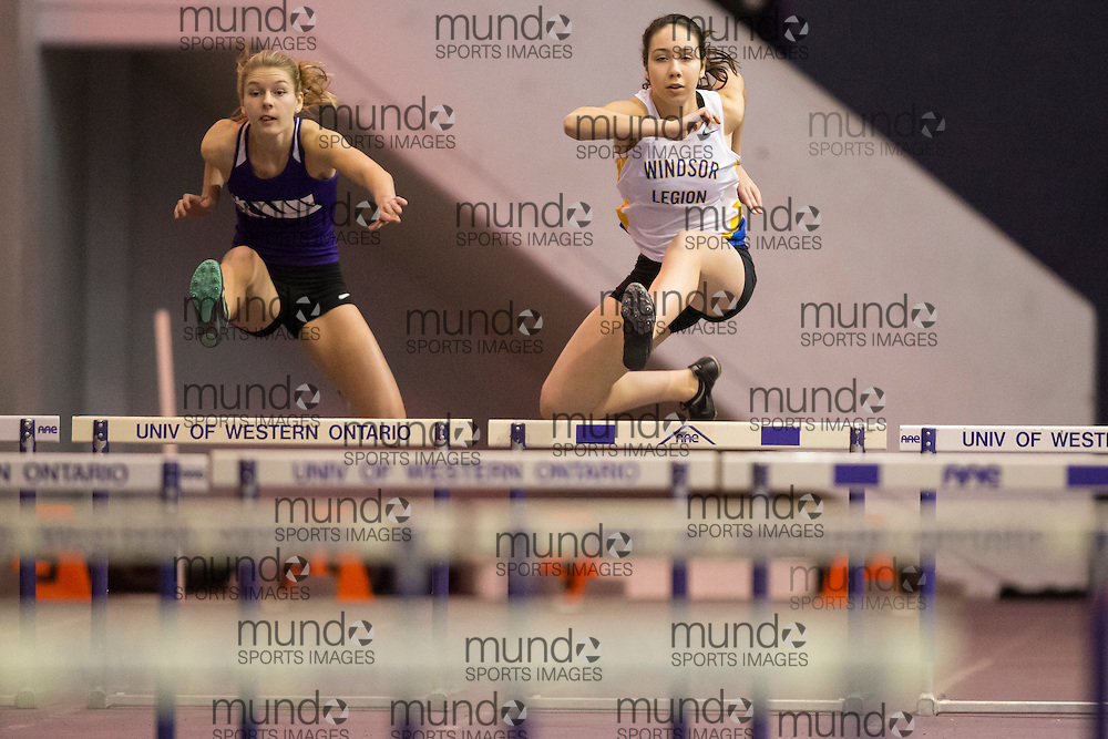 Abby Jackson, left, of London Western and Keely Gibb of Windsor Legion compete at the STL-LW All Comers Meet # 2 in London, Ontario, Saturday, January 24, 2015.<br /> Mundo Sport Images/ Geoff Robins