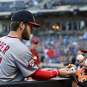 Bryce Harper, Washington Nationals, signing autographs before the New York Mets Vs Washington Nationals MLB regular season baseball game at Citi Field, Queens, New York. USA. 31st July 2015. Photo Tim Clayton