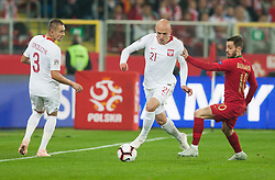 October 11, 2018 - Chorzow, Poland - Artur Jedrzejczyk (POL), Rafal Kurzawa (POL), Bernardo Silva (POR) during the UEFA Nations League A group three match between Poland and Portugal at Silesian Stadium on October 11, 2018 in Chorzow, Poland. (Credit Image: © Foto Olimpik/NurPhoto via ZUMA Press)