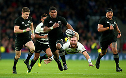 Waisake Naholo of New Zealand goes past the diving tackle of Willie Britz of Barbarians - Mandatory by-line: Robbie Stephenson/JMP - 04/11/2017 - RUGBY - Twickenham Stadium - London,  - Barbarians v All Blacks - Killik Cup