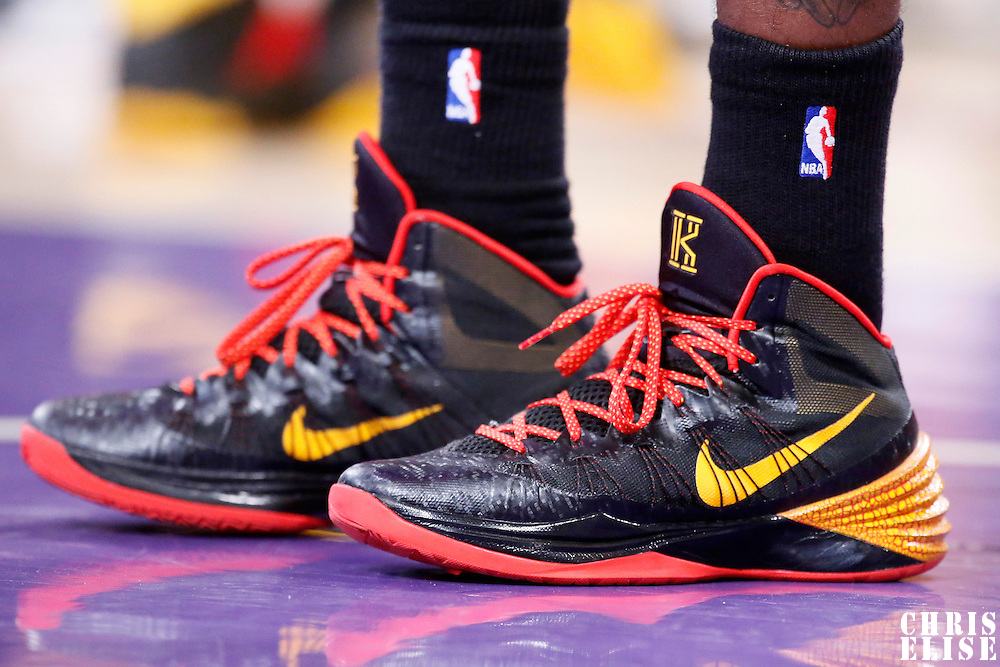 14 January 2014: Close view of Cleveland Cavaliers point guard Kyrie Irving (2) shoes during the Cleveland Cavaliers 120-118 victory over the Los Angeles Lakers at the Staples Center, Los Angeles, California, USA.