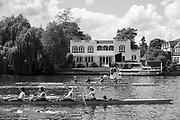 Maidenhead. Berkshire. United Kingdom. General view, as a crew moves up towards the start,  background, Riverside residences  on the course of the 2017 Maidenhead Junior Regatta  River Thames. <br /> <br /> [&copy;Peter SPURRIER/Intersport Images] Sunday. 14.05.2017