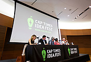 "Panelists on the ""What's next for immigrant farm labor in Wisconsin?"" speak during the Cap Times 2017 Idea Fest, Sunday, September 17, 2017"