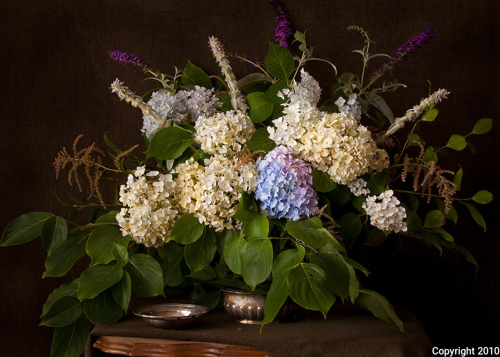 Plants from our garden were used to make this summer still life with hydrangeas and other flowers
