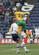 Preston - Saturday February 14th, 2009: Andy Davies of Preston North End and Carl Cort of Norwich City during the Coca Cola Championship match at Deepdale, Preston. (Pic by Michael Sedgwick/Focus Images)