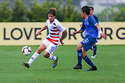 Team USA midfielder Rokas Pukstas (15) carries the ball up the pitch during a CONCACAF boys under-15 championship soccer game, Monday, Aug. 5, 2019, in Bradenton, Fla. The USA defeated Guatemala  2-0 (Kim Hukari/Image of Sport)