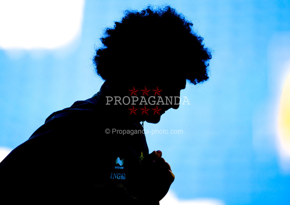 CARDIFF, WALES - Thursday, September 6, 2012: Belgium's Marouane Fellaini during a training session at the Cardiff City Stadium ahead of the 2014 FIFA World Cup Brazil Qualifying Group A match against Wales. (Pic by David Rawcliffe/Propaganda)