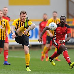 TELFORD COPYRIGHT MIKE SHERIDAN 2/3/2019 - GOAL. Dan Udoh of AFC Telford closes down during the National League North fixture between Boston United and AFC Telford United at the York Street Jakemans Stadium
