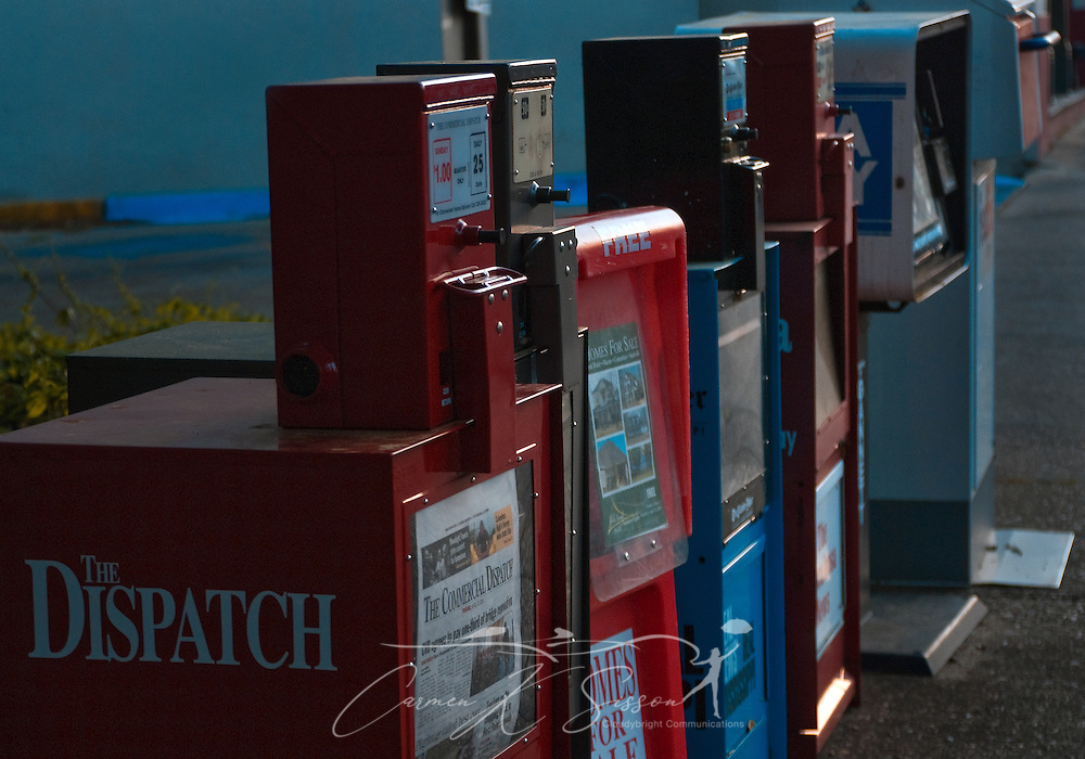 A row of newspaper racks stands in downtown Columbus, Miss. April 20, 2010. The main daily newspaper is The Commercial Dispatch, which was founded in 1922. (Photo by Carmen K. Sisson/Cloudybright)