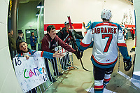 KELOWNA, CANADA - FEBRUARY 7: Libor Zabransky #7 of the Kelowna Rockets heads for the dressing room at the end of the game against the Vancouver Giants  on February 7, 2018 at Prospera Place in Kelowna, British Columbia, Canada.  (Photo by Marissa Baecker/Shoot the Breeze)  *** Local Caption ***