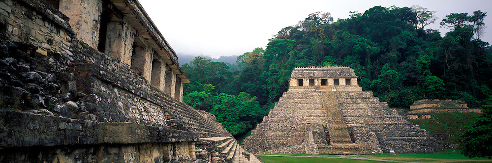 MEXICO, MAYAN, CHIAPAS Palenque; Temple and Palace, left