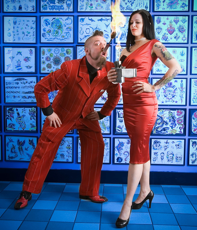 Carnival performers Tyler Fyre and his wife Thrill Kill Jill sword swallower