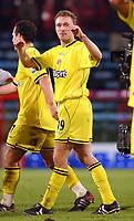 Fotball<br /> England 2004/2005<br /> Foto: SBI/Digitalsport<br /> NORWAY ONLY<br /> <br /> Barclays Premiership<br /> Crystal Palace v Charlton Athletic<br /> 5/12/2004<br /> <br /> Charlton's Dennis Rommedahl celebrates at the final whistle