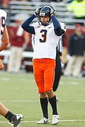 November 20, 2010; Chestnut Hill, MA, USA;  Virginia Cavaliers kicker Robert Randolph (3) reacts after missing a field goal attempt against the Boston College Eagles during the fourth quarter at Alumni Stadium.  Boston College defeated Virginia 17-13.