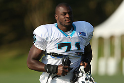 July 28, 2018 - Spartanburg, SC, U.S. - SPARTANBURG, SC - JULY 28: Efe Obada (71) defensive end Carolina Panthers jogs to the field for the third day of the Carolina Panthers training camp practice at Wofford College July 28, 2018 in Spartanburg, S.C.  (Photo by John Byrum/Icon Sportswire) (Credit Image: © John Byrum/Icon SMI via ZUMA Press)