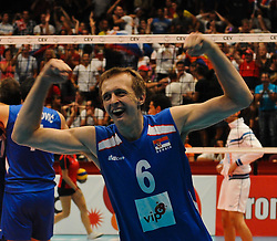 18.09.2011, Stadthalle, Wien, AUT, CEV, Europaeische Volleyball Meisterschaft 2011, Finale, Italien vs Serbien, im Bild Milos Terzic, (SRB, #6, Wing-Spiker) // during the european Volleyball Championship Final Italy vs Serbia, at Stadthalle, Vienna, 2011-09-18, EXPA Pictures © 2011, PhotoCredit: EXPA/ M. Gruber