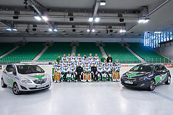 Team HDD Tilia Olimpija ice-hockey team for season 2010/2011 at official photo shooting in Hala Tivoli, Ljubljana; First line (from Left): Matic Boh, Peter Sachl, Ziga Pance, Assistant Coach Andrej Hebar, Ales Sila, Head Coach Hannu Jarvenpaa, Matt Higgins, Kari Haakana, Matija Pintaric; Second line: John Hughes, Igor Cvetek, Nejc Berlisk, Damjan Dervaric, Kevin Kantee, Ziga Pavlin, Bostjan Groznik, Jure Kralj, Anze Ropret, Tomi Mustonen, Andrej Hebar, Sami Ryhanen; Third line: PR Tomaz Langerholz, Matej Hocevar, Bostjan Golicic, Jure Stopar, David Sefic, Eric Pance, Gregor Rezek, Anze Florjancic, Massage Therapist Damir Eibel, Equipment Manager Janez Karnicar; on September 1, 2010, in Ljubljana, Slovenia. (Photo by Matic Klansek Velej / Sportida)