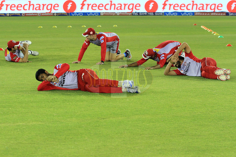 Freecharge branding during match 39 of the Vivo Indian Premier League ( IPL ) 2016 between the Kings XI Punjab and the Royal Challengers Bangalore held at the IS Bindra Stadium, Mohali, India on the 9th May 2016<br /> <br /> Photo by Arjun Singh / IPL/ SPORTZPICS