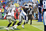 NASHVILLE, TN - NOVEMBER 29:  Dorial Green-Beckham #17 of the Tennessee Titans catches a touchdown pass during a game against the Oakland Raiders at Nissan Stadium on November 29, 2015 in Nashville, Tennessee.  The Raiders defeated the Titans 24-21.  (Photo by Wesley Hitt/Getty Images) *** Local Caption *** Dorial Green-Beckham