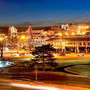 Panorama photo of Kansas City, Missouri's Country Club Plaza Lights. December 2015.