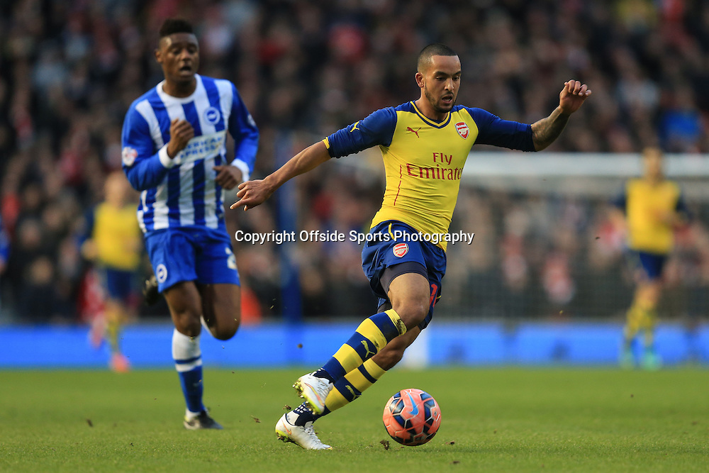 25 January 2015 - The FA Cup Fourth Round - Brighton v Arsenal - Theo Walcott of Arsenal in action with Rohan Ince of Brighton & Hove Albion - Photo: Marc Atkins / Offside.