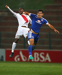 Thokozane Sekotlong of Free State Stars and Michael Boxall of SuperSport United jump to head the ball during the 2016 Premier Soccer League match between Supersport United and The Free Stat Stars held at the King Zwelithini Stadium in Durban, South Africa on the 24th September 2016<br /> <br /> Photo by:   Steve Haag / Real Time Images