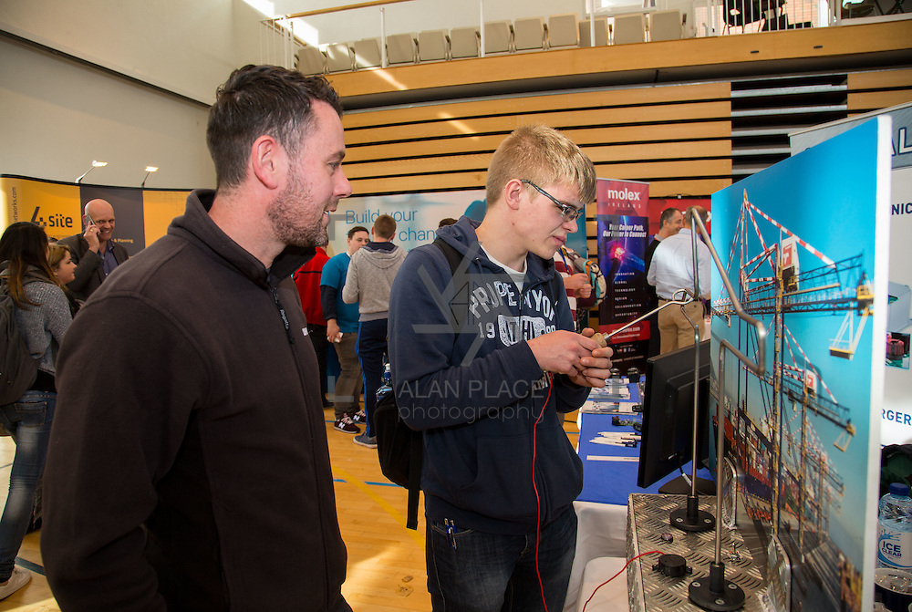 11.10.2016           <br /> Limerick Institute of Technology Careers Fair. Pictured are, Gary Harkin, Liebherr and James Breen. Picture: Alan Place