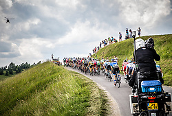 Peloton at Medvedje brdo during 3rd Stage of 26th Tour of Slovenia 2019 cycling race between Zalec and Idrija (169,8 km), on June 21, 2019 in Slovenia. Photo by Vid Ponikvar / Sportida