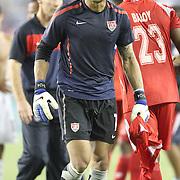 USA Goalkeepter Tim Howard (1) leaves the pitch after a CONCACAF Gold Cup soccer match between the United States and Panama on Saturday, June 11, 2011, at Raymond James Stadium in Tampa, Fla. (AP Photo/Alex Menendez)