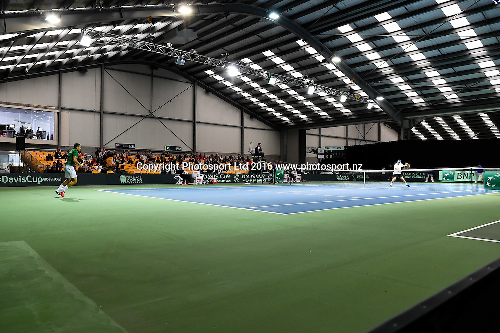 General view during the Davis Cup Tennis Asia/Oceania Group 1 tie, New Zealand V Pakistan, at the Z Energy Tennis Centre, Wilding Park , Christchurch, New Zealand, 16th September 2016. © Copyright Photo: John Davidson / www.photosport.nz