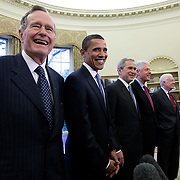 Pres. Bush hosts a lunch for former Presidents Jimmy Carter, Bill Clinton, George H.W. Bush, and President-elect Barack Obama Wednesday, January 7, 2009...Photo by Khue Bui