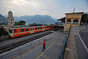 Lugano station high above Lago Maggiore. Lugano - Ponte-Tresa railways.
