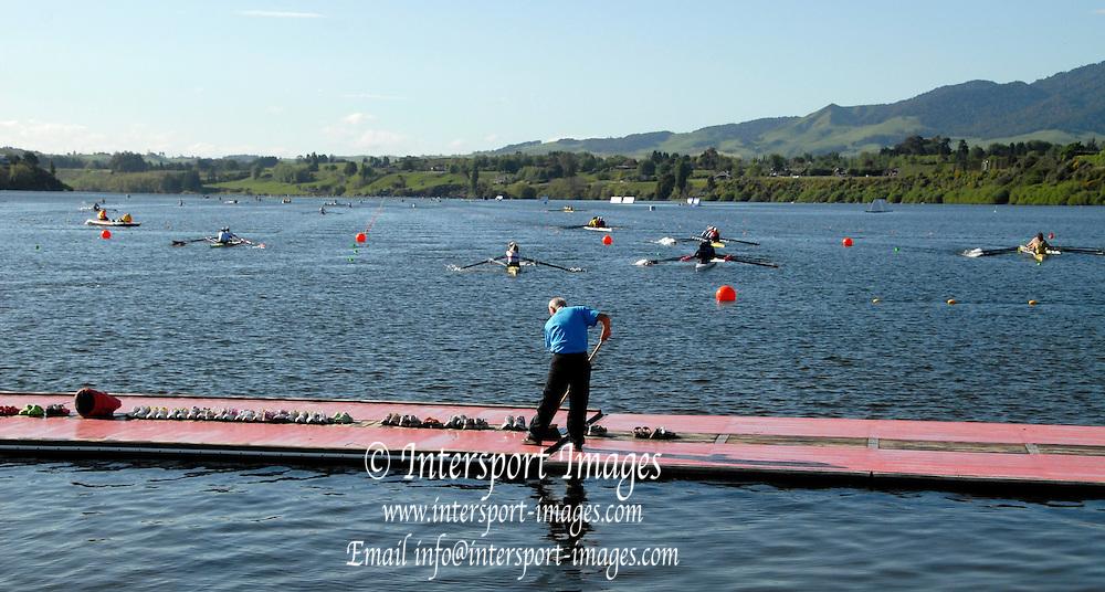 Hamilton, New Zealand, 2010  World Rowing Championships, Lake Karapiro Sunday  31/10/2010, Volunteer on Pontoon [Mandatory Credit Karon Phillips/Intersport Images]