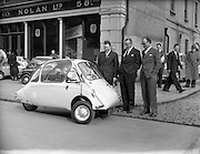 "25/02/1957<br /> 02/25/1957<br /> 25 February 1957<br /> Heinkel ""Bubble"" car at Lincoln and Nolan Ltd. 57 Baggot Street, Dublin."