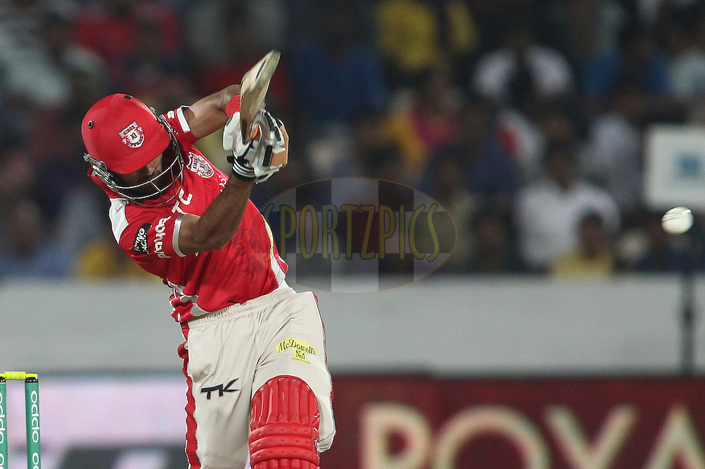 Manan Vohra of the Kings XI Punjab plays a delivery through the leg side during the second semi final match of the Oppo Champions League Twenty20 between the Kings XI Punjab and the Chennai Superkings held at the Rajiv Gandhi Cricket Stadium, Hyderabad, India on the 2nd October 2014<br /> <br /> Photo by:  Shaun Roy / Sportzpics/ CLT20<br /> <br /> <br /> Image use is subject to the terms and conditions as laid out by the BCCI/ CLT20.  The terms and conditions can be downloaded here:<br /> <br /> http://sportzpics.photoshelter.com/gallery/CLT20-Image-Terms-and-Conditions-2014/G0000IfNJn535VPU/C0000QhhKadWcjYs