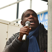 London, UK. 17 March 2018. David Lammy is a Labour MP join March Against Racism highlight Islamophobia , Grenfell , migrants & refugees, anti-Semitism & the far right, black deaths in police custody, Stop the War and Care4Calais on UN Anti Racism Day to Downing Street, London, UK