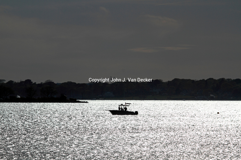 Fishing boat at dusk, Newport, Rhode Island
