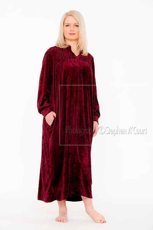 Burgundy Velour Gown. Photo credit: Stephen A'Court.  COPYRIGHT ©Stephen A'Court